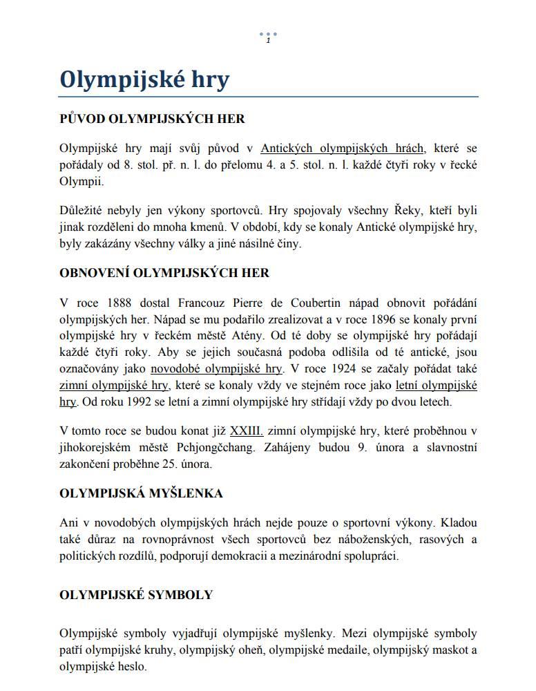 Olympijske Hry Cteni S Porozumenim Internetovy Magazin